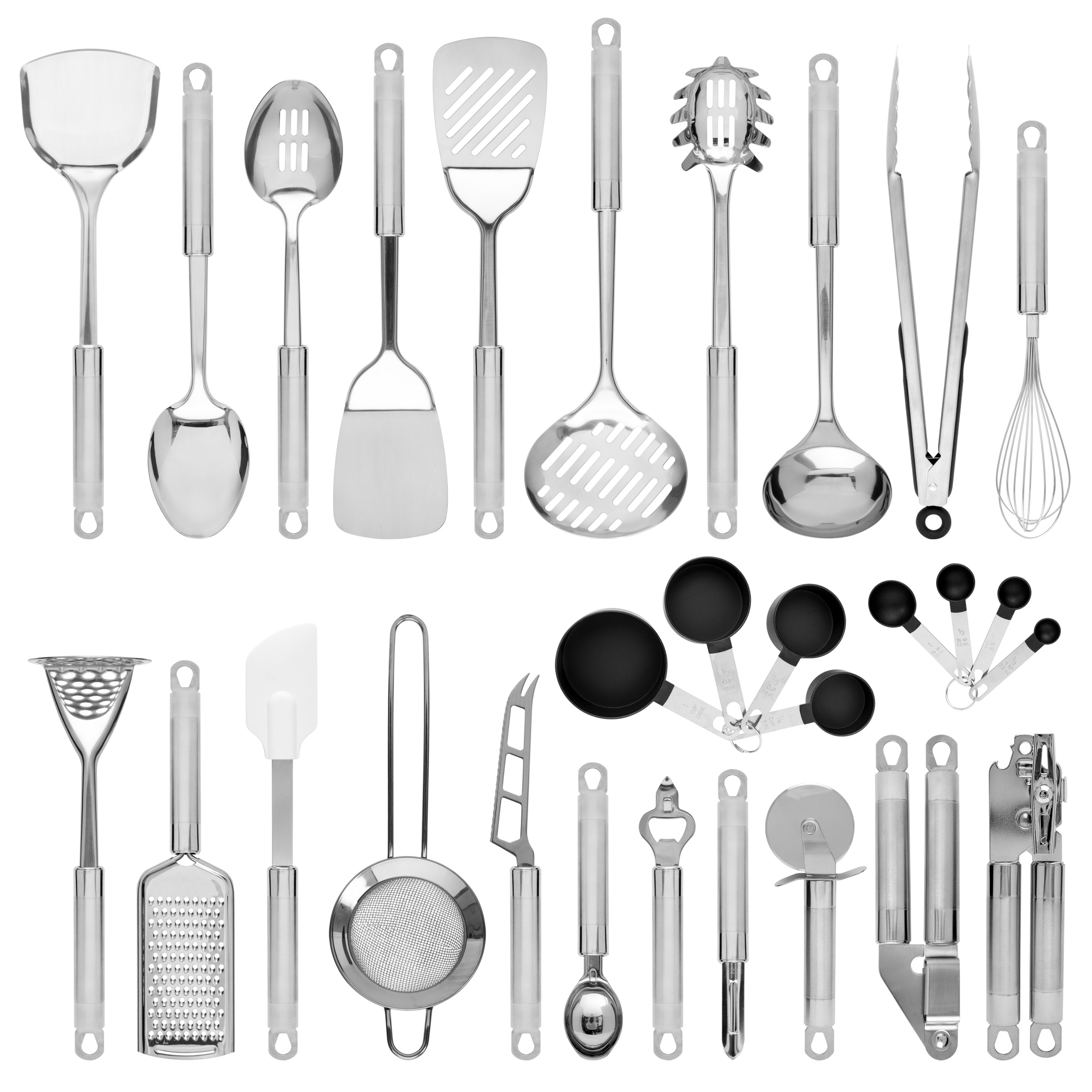 Best Choice Products 29-Piece Stainless Steel Kitchen Cooking Utensil Set w/ Measuring Cups and Spoons - Silver