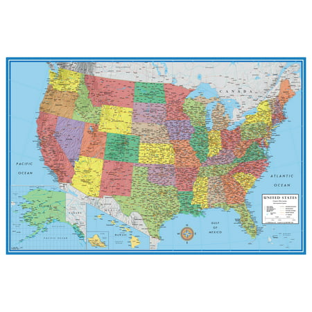 48x78 Huge United States, USA Classic Elite Wall Map Laminated Political United States Wall Map