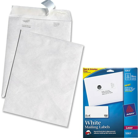 Quality Park White Leather Tyvek Plain Envelopes and Avery Laser Shipping Labels with TrueBlock Technology, White 2