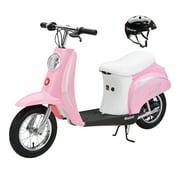 Razor Pocket Mod Miniature Euro 24V Electric Kids Ride On Scooter & Helmet, Pink