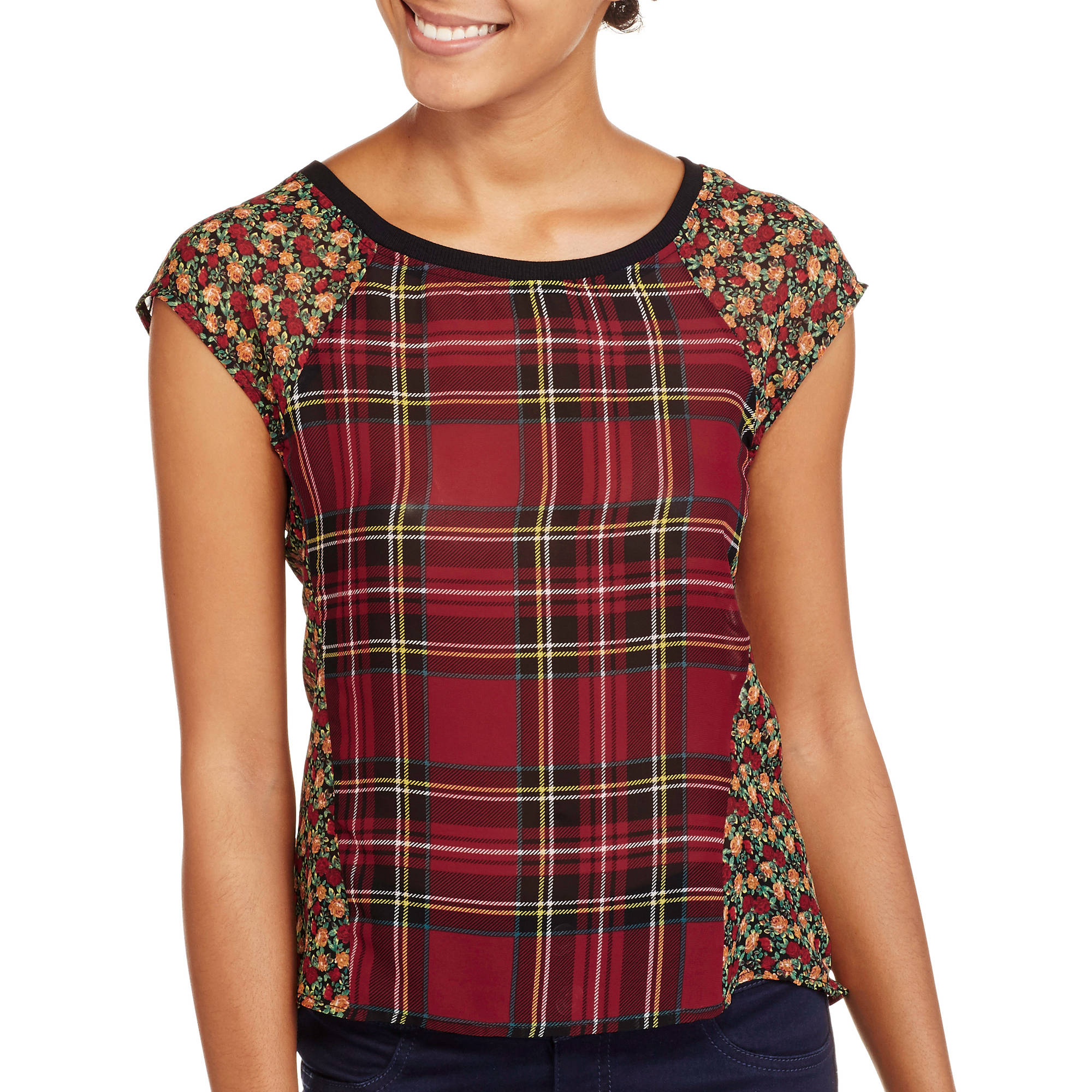 Ali & Kris Juniors' Cap Sleeve Scoop Neck Chiffon Plaid and Lace Top