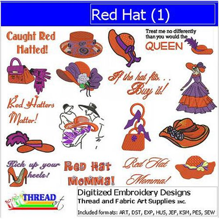 ThreadArt Machine Embroidery Designs Red Hat(1) CD Redwork Embroidery Design