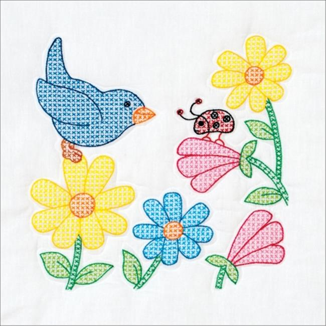 Stamped White Themed Quilt Blocks 14 x 14 in. - Bird And Flowers