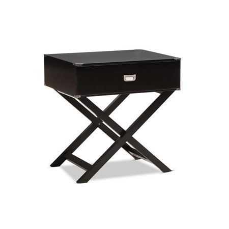Urban Designs 370053 Curtice Modern & Contemporary Black Drawer Wooden Bedside Table - 27.9 x 25.9 x 20 in.