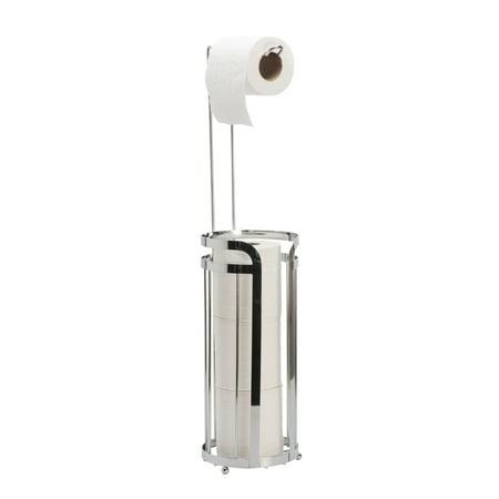 Bath Bliss Modern Chrome Toilet paper holder With Reserve - Chrome (Dims: 6 x6x 26.) ()
