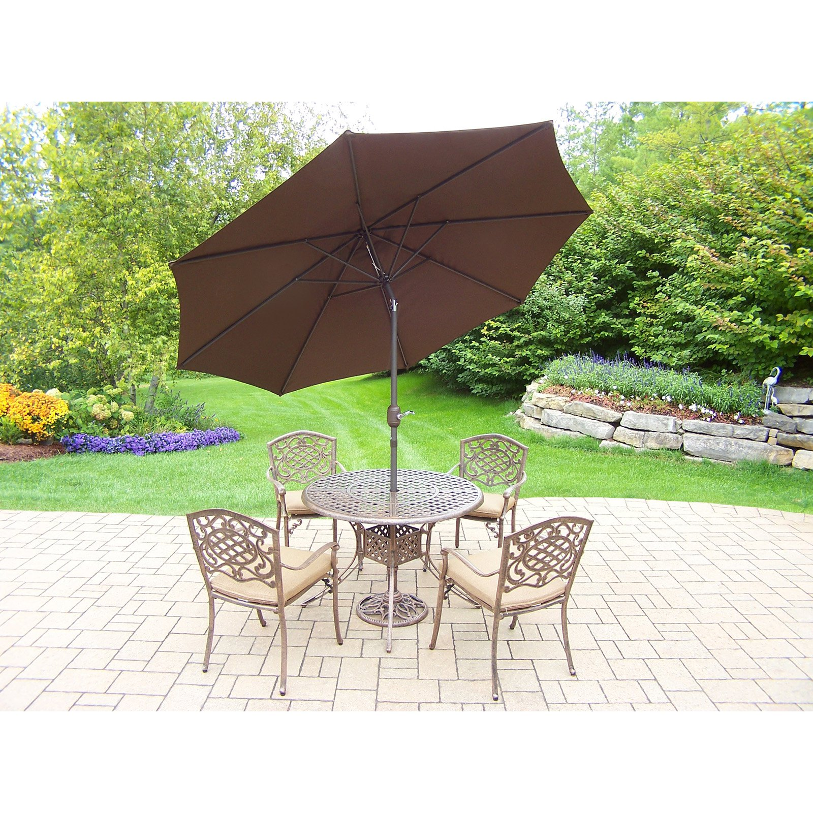 Oakland Living Elite Mississippi Aluminum 7 Piece Round Patio Dining Set
