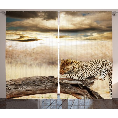 Safari Decor Curtains 2 Panels Set, Leopard Resting Under Dramatic Cloudy Sky Africa Safari Wild Cats Nature Picture Print, Living Room Bedroom Accessories, Gift Ideas, By Ambesonne - Safari Ideas