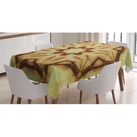 Tie Dye Decor Tablecloth, Trippy Ethnic Thai Mandala Motif with Dirty Grunge Smear and Rough Stains, Rectangular Table Cover for Dining Room Kitchen, 52 X 70 Inches, Mustard Brown, by Ambesonne - Tie Dye Tablecloth