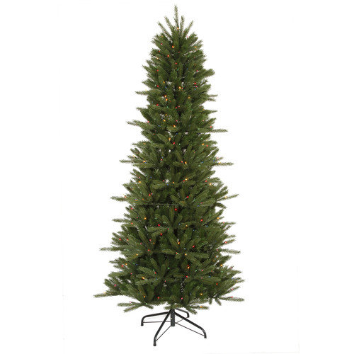 Vickerman Co. Vermont Instant Shape 7' 6'' Green Artificial Christmas Tree with 550 Multicolored Dura-Lit Mini Lights with Stand