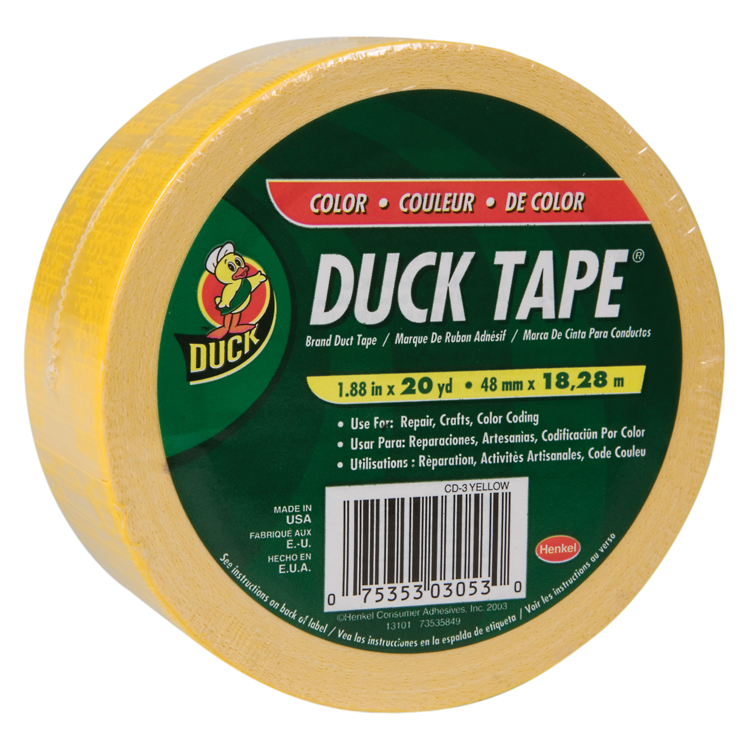 Color Duck Tape Brand Duct Tape - Yellow, 1.88 in. x 20 yd.