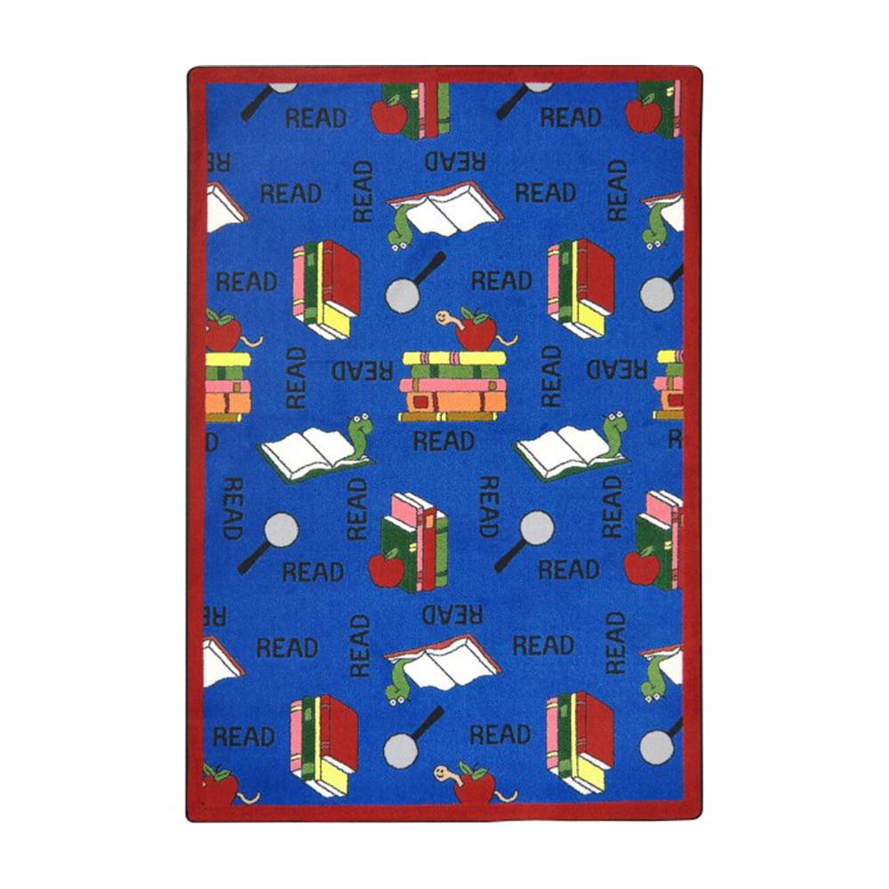 "Joy Carpets Kid Essentials - Language & Literacy Bookworm, 3'10"" x 5'4"", Blue"