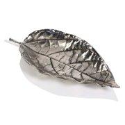 Zodax Osage Orange Leaf Antique Pewter Tray in Silver (Set of 6)