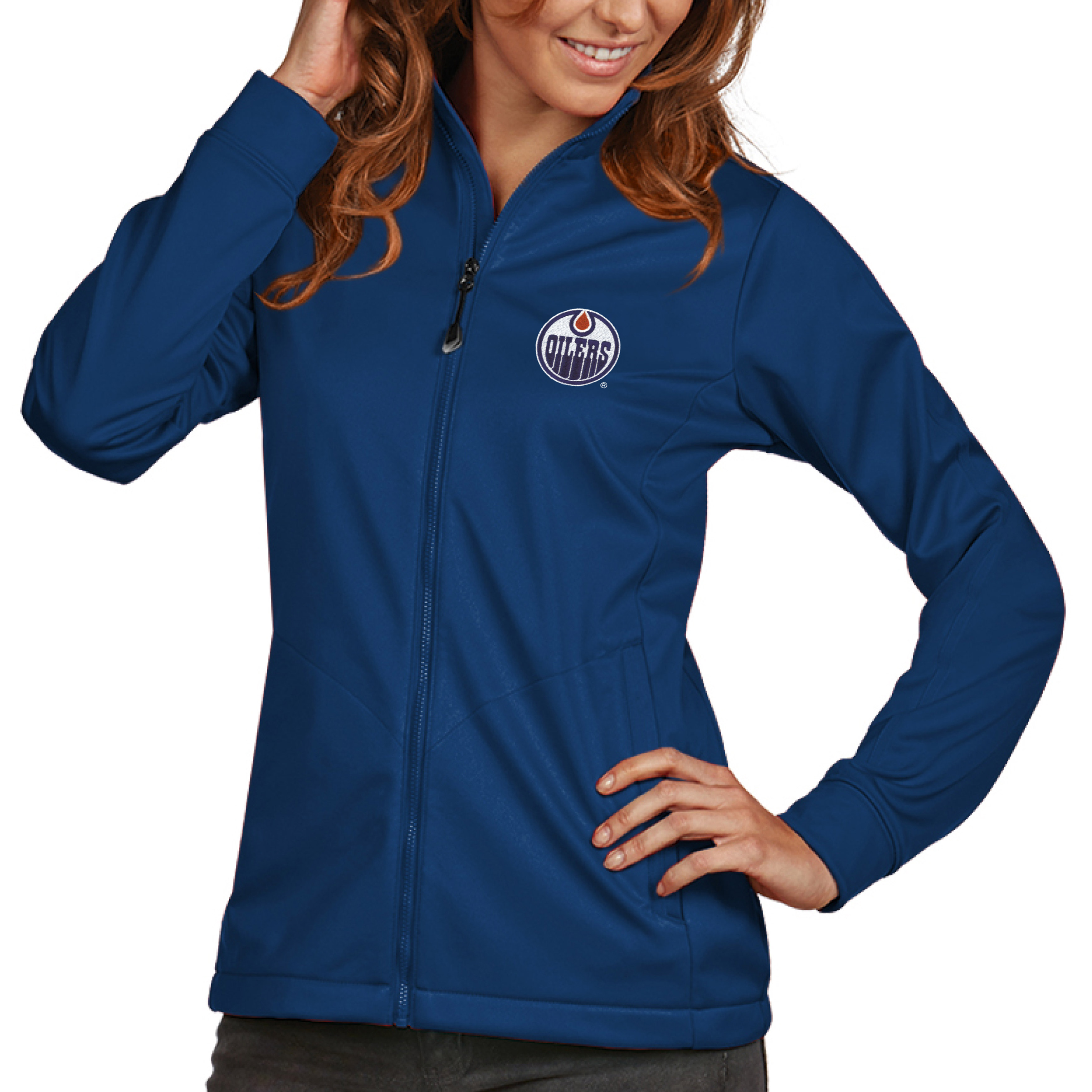 Edmonton Oilers Antigua Women's Golf Full Zip Jacket - Royal
