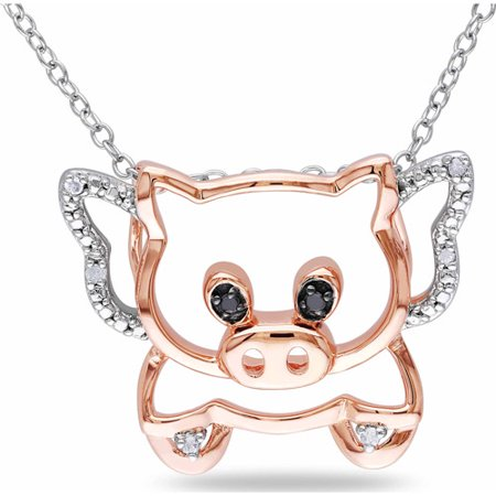 Miabella Black and White Diamond Accent Two-Tone Sterling Silver Pig Pendant, 18