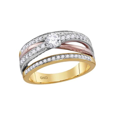 14kt Yellow Rose Gold Womens Round Diamond Solitaire Bridal Wedding Engagement Ring 3/4 Cttw - image 1 of 1