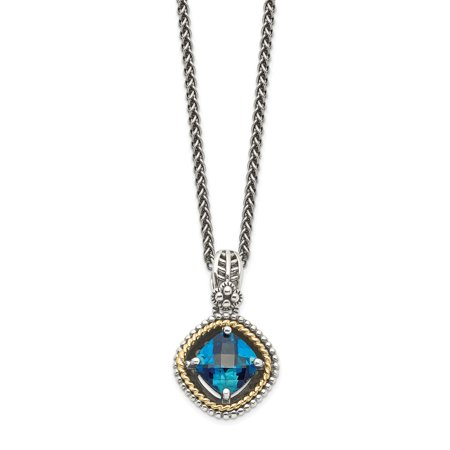 Roy Rose Jewelry Shey Couture Collection Sterling Silver with 14K Yellow Gold London Blue Topaz Necklace 18