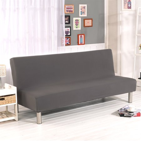 Cream Futon Cover (Folding Sofa Bed Cover Solid Color Futon Armless Slipcover Polyester Elastic Fabric All-Inclusive Cover)