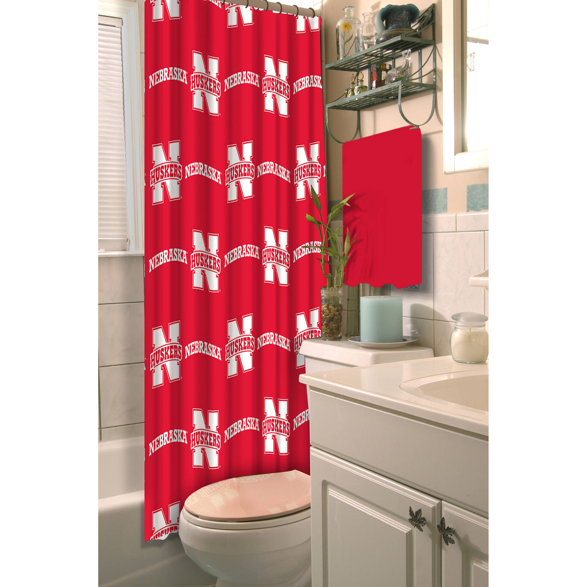 NCAA University of Nebraska Decorative Bath Collection - Shower Curtain