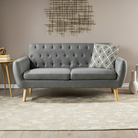 Eunice Petite Mid Century Modern Tufted Fabric Sofa, Dark Grey