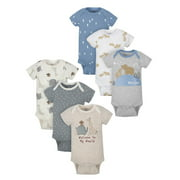 Wonder Nation Baby Boy Variety Short Sleeve Bodysuits, 6-Pack