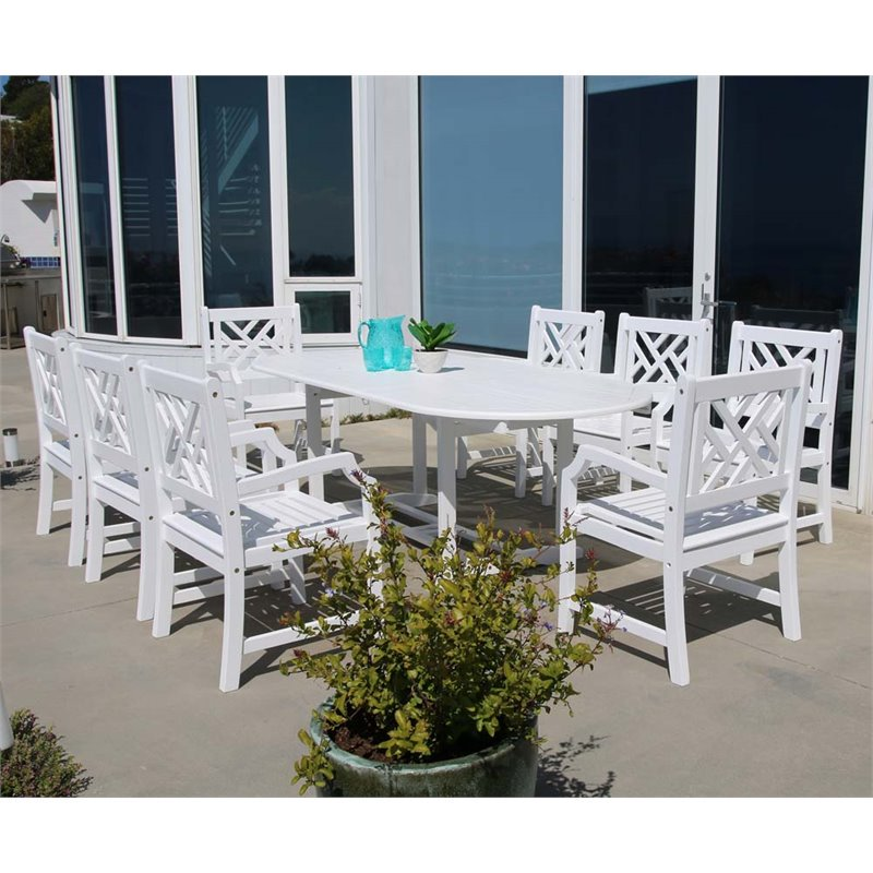 Vifah Bradley 9 Piece Extendable Oval Patio Dining Set in White