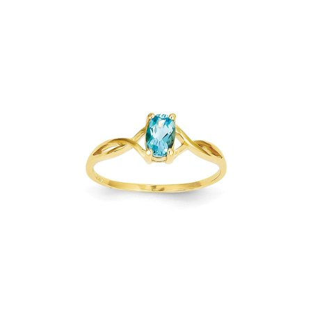 Solid 14k Yellow Gold Blue Simulated Topaz Simulated Birthstone Ring (1mm) - Size 4