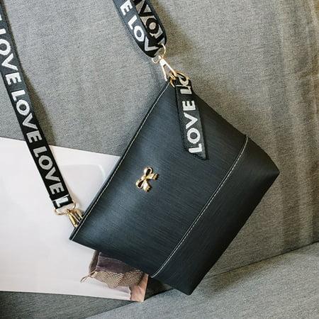 Women Leather Shoulder Bag Messenger Satchel Tote CrossBody Bag Handbag Black