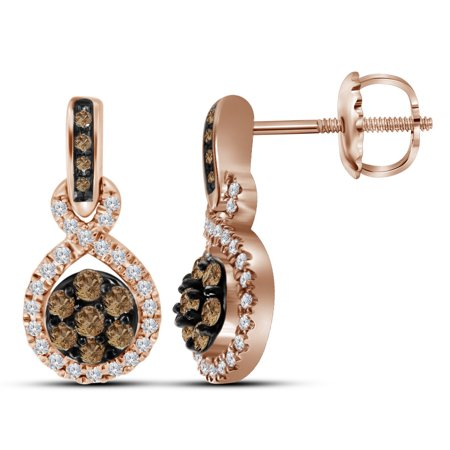 10k Rose Gold Round Chocolate Brown Diamond Cer Dangle Earrings 1 2 Cttw