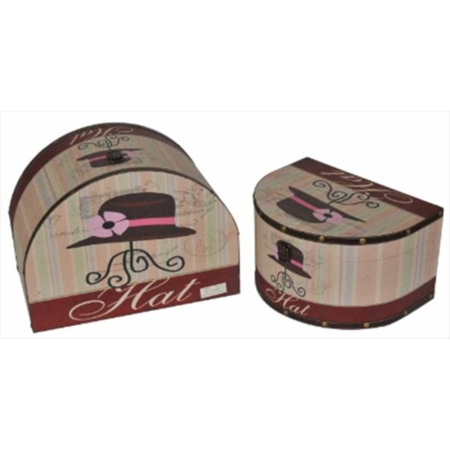 NorthLight 16 & 19 inch Decorative Hat Storage Boxes, Set Of 2