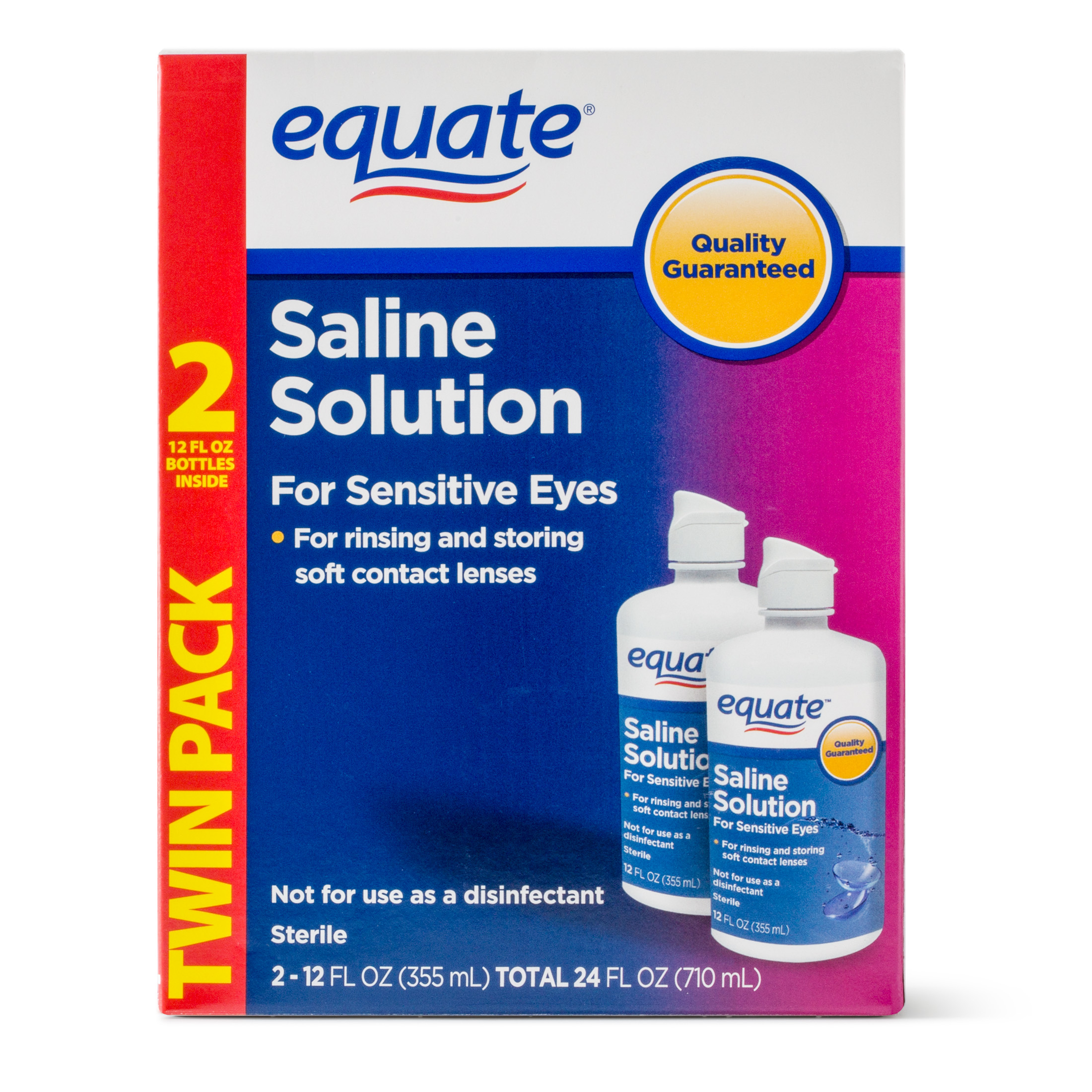Equate Saline Solution For Sensitive Eyes, 12 Oz, 2 Pk