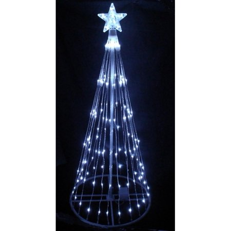 6 Pure White Led Light Show Cone Christmas Tree Lighted Yard Art Decoration