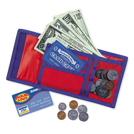 Learning Resources Cash 'N' Carry Wallet, Pretend Play, Nylon & Velcro Wallet, Ages