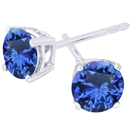 Round Cut Simulated Blue Sapphire Basket Stud Earrings In 10K Solid White Gold (0.5 Ct)