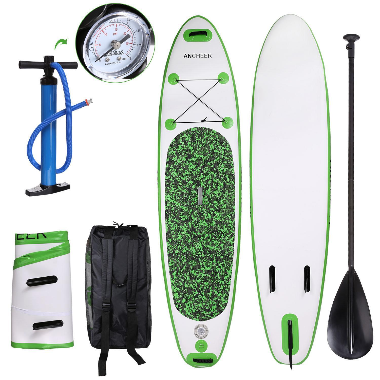 """Procyberstore 10'(6""""Thick) PVC Inflatable Stand Up Paddle Board with Adjustable Paddle cbst by"""