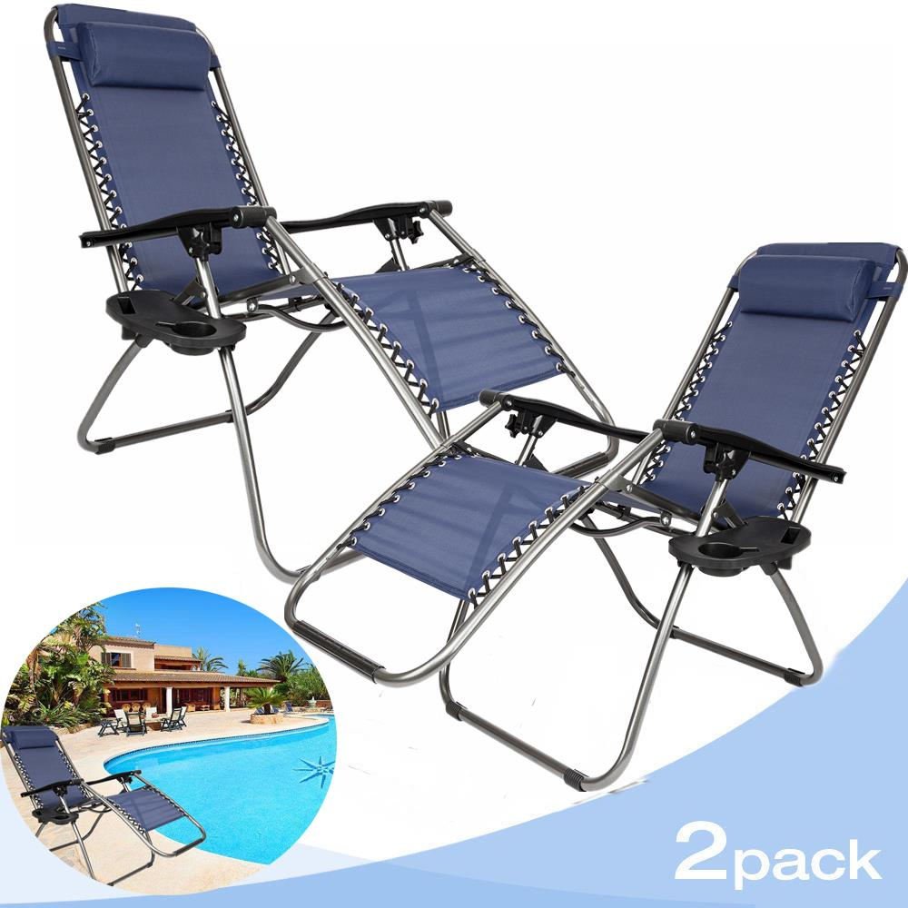 Ktaxon 2 Outdoor Zero Gravity Lounge Chair Beach Patio Pool Yard Folding Recliner Blue
