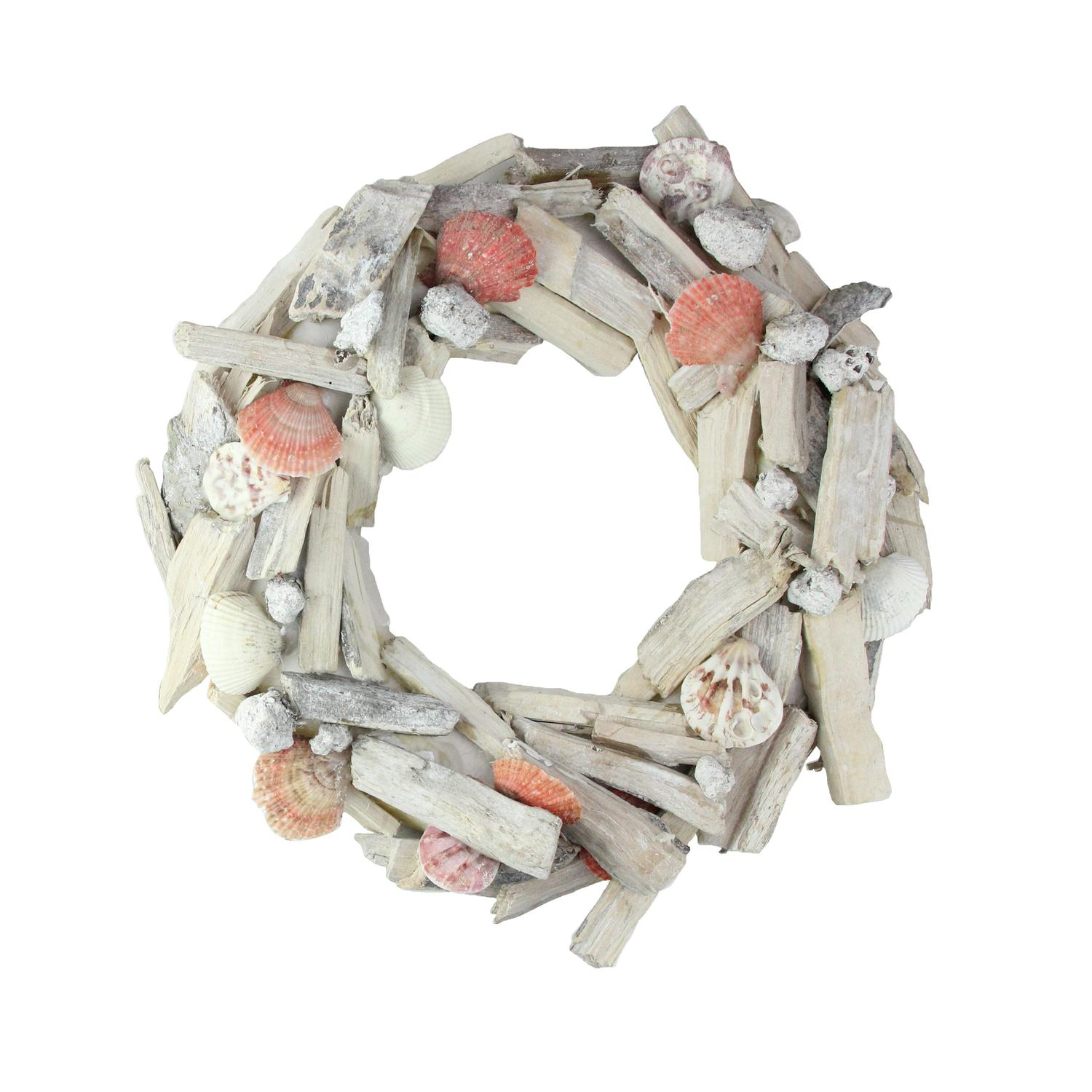 "12.5"" Nautical Driftwood and Seashell Artificial Summer Wreath"