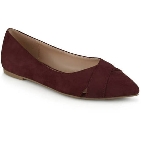 Brinley Co. Women's Pointed Toe Faux Suede Fashion (Coach Suede Flats)