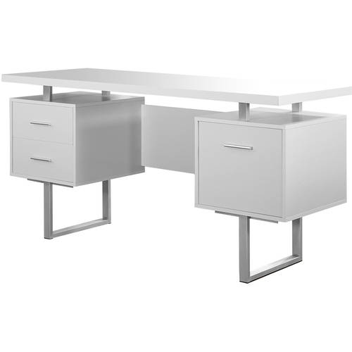 Monarch Computer Desk 60L White Silver Metal Walmartcom