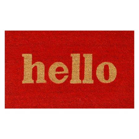 Hello Doormat Red/Natural Block