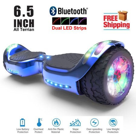 Hoverboard All-Terrain LED Flash Wide All Terrian Wheel with Bluetooth Speaker Dual LED Light Self Balancing Wheel Electric Scooter Chrome