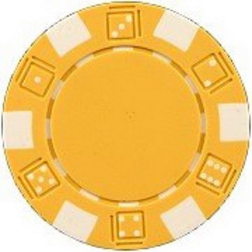 Da Vinci 50 Clay Composite Dice Striped 11.5-Gram Poker Chips Yellow - NEW