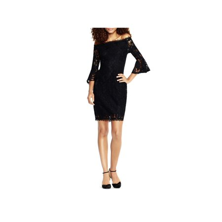 Adrianna Papell Womens Lace Off-The-Shoulder Cocktail Dress Jointed Cotton Women Dresses