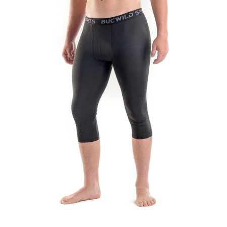 Bucwild Sports Compression Tights Youth & Adult (XS - Large) Bucwild Sports 3/4 Compression Pants Tights Youth & Adult Mens Baselayer For Basketball Football Running Baseball