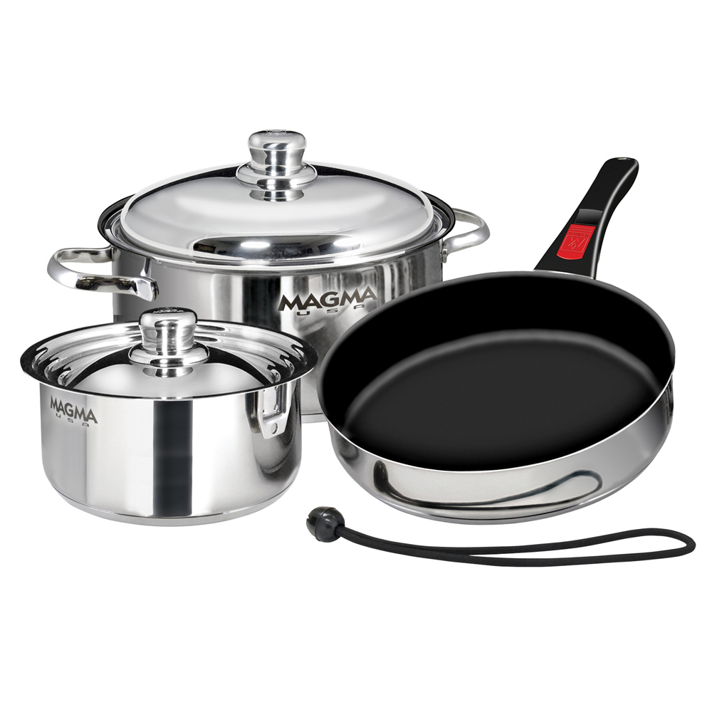 "Click here to buy Magma A10-363-2-IND Stainless Steel Induction Compatible Non-Stick 7-Piece ""Nesting"" Cookware Set by MAGMA PRODUCTS."