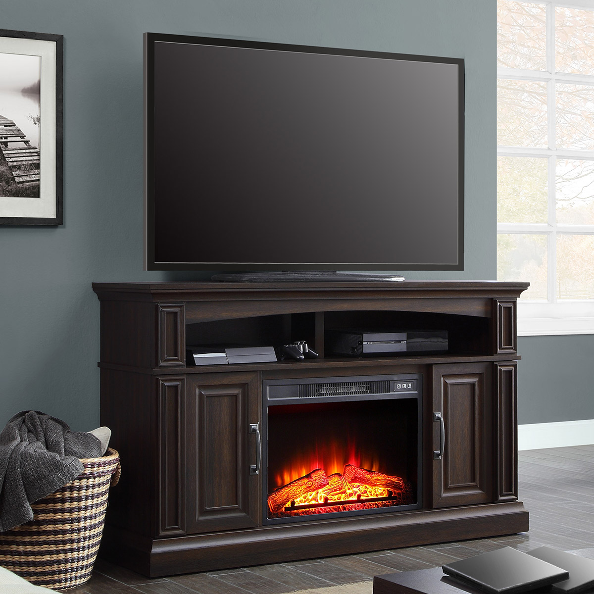 "Whalen 55in Media Fireplace for TVs up to 60"", Warm Ash Brown"