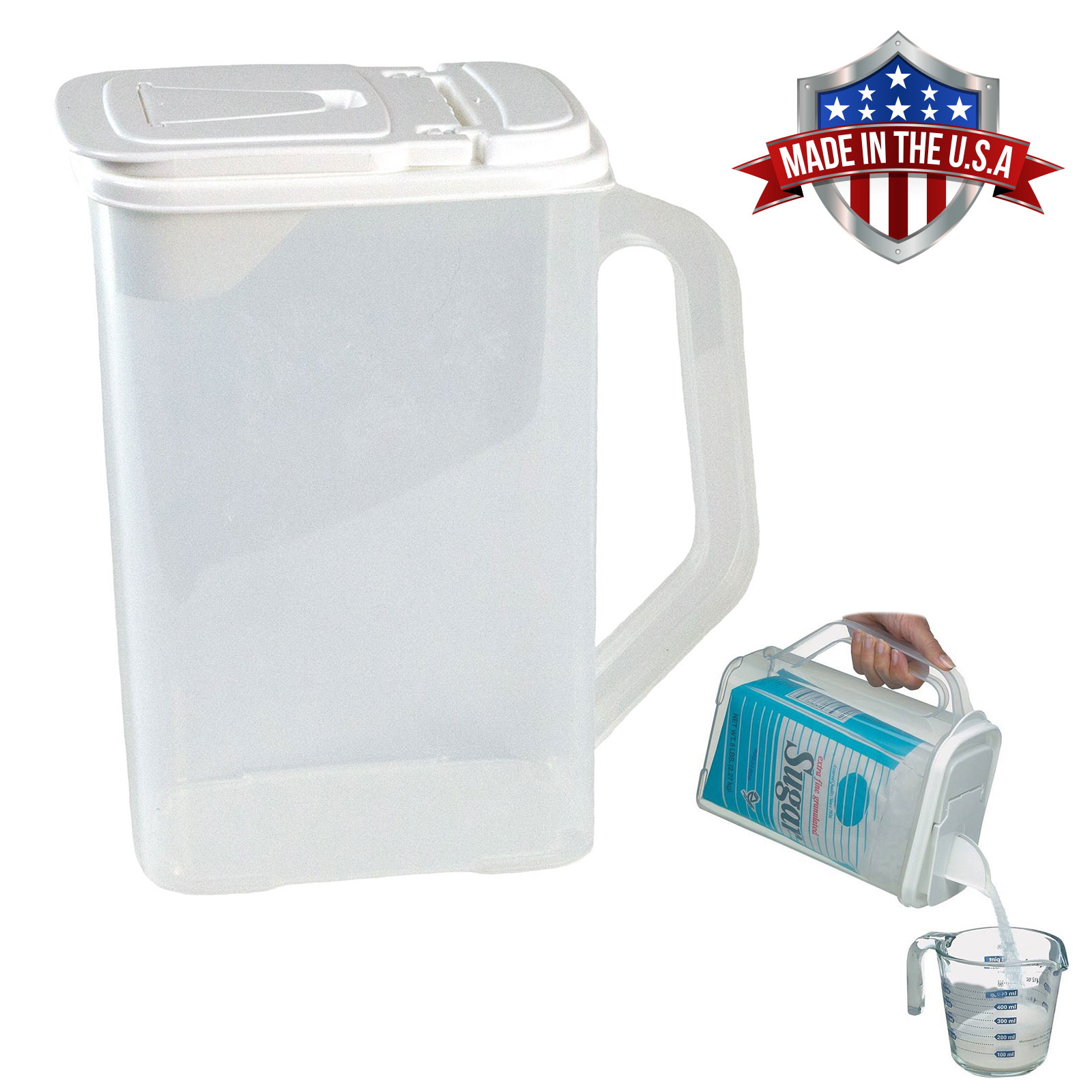 Food Storage Container 4 Qt Flour Sugar Bag-In Keeper Pour n' Store Dispenser with Handle