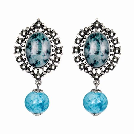 Akoyovwerve Vintage Design Women Rhinestone Stud Earrings Party Wedding Jewelry Gift, Blue