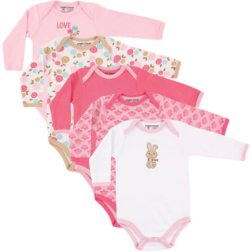 Luvable Friends Newborn Baby Girls Long Sleeve Bodysuit 5-Pack - Bunny