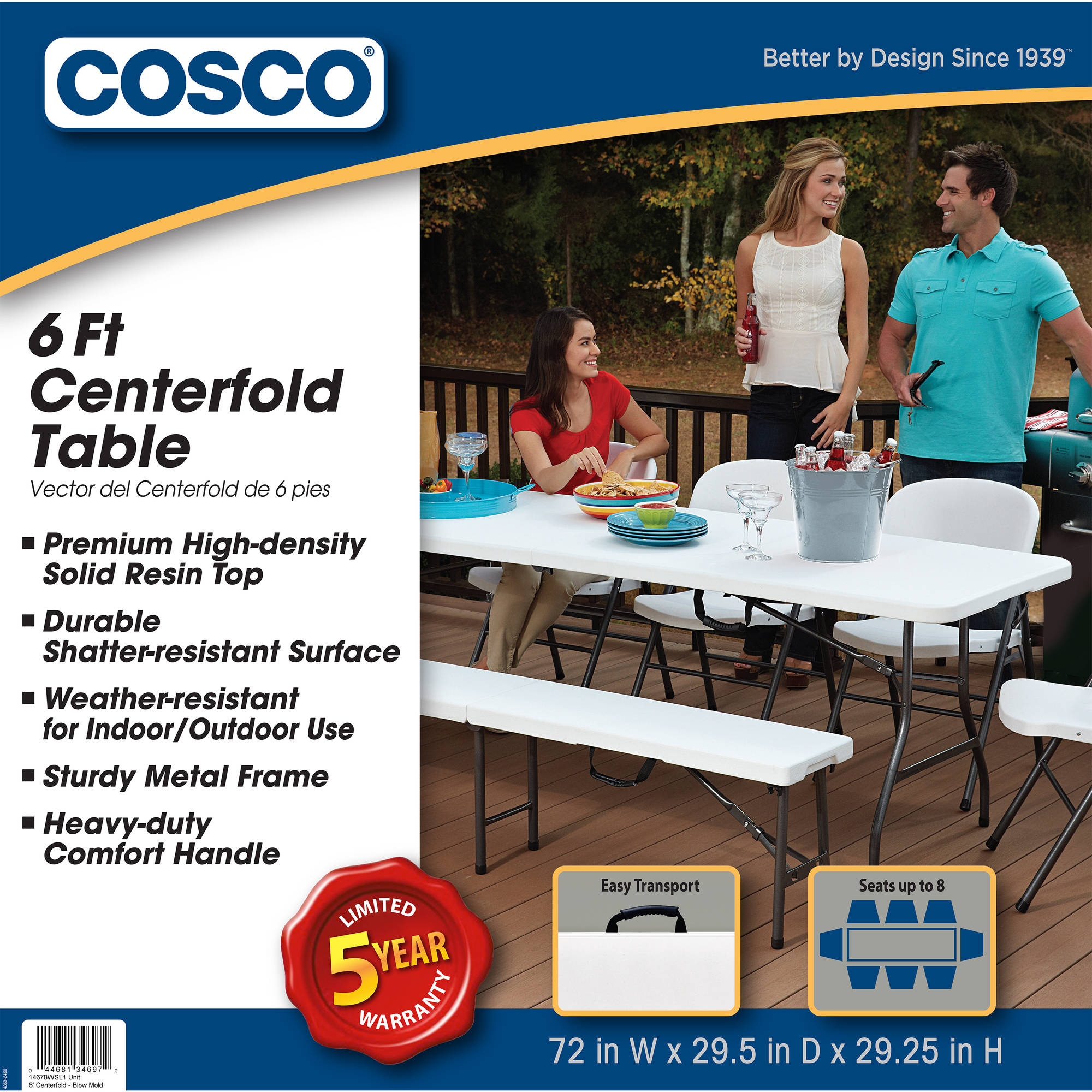 Cosco 6 Centerfold Table Multiple Colors Walmart