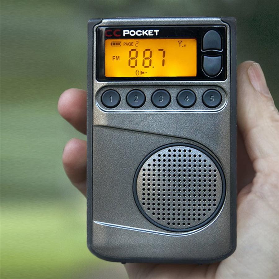 Crane CC Pocket Digital AM FM NOAA Weather Portable Radio with Clock C